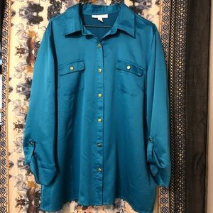 JM Collection Teal Button Up Blouse